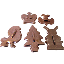 Five Cookie Cutters Anodized Aluminum: Scout, Christmas Tree, Crown, Lion and Windmill For Decorating