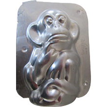 Wilton Chocolate Monkey Mold 1974 Chicago Made in Korea Aluminum Candy Mold