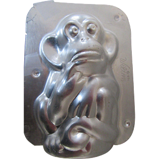 Wilton Chocolate Monkey Mold 1974 Chicago Made in Korea Aluminum Candy Mold