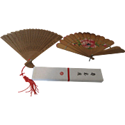 Oriental Sandalwood Fans Plus a Fan Box Perfect for Display or Use in the Summer
