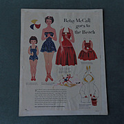 Betsy McCall goes to the Beach Paper Doll 1951