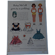 Betsy McCall goes to a wedding 1951 Free shipping US