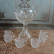 Hard to Find Pressed Glass Footed Punch Bowl and Cups