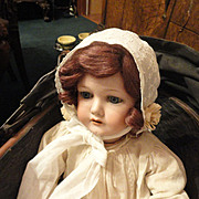 Charming Antique Embroidered Cotton doll/baby Bonnet with Silk Florets