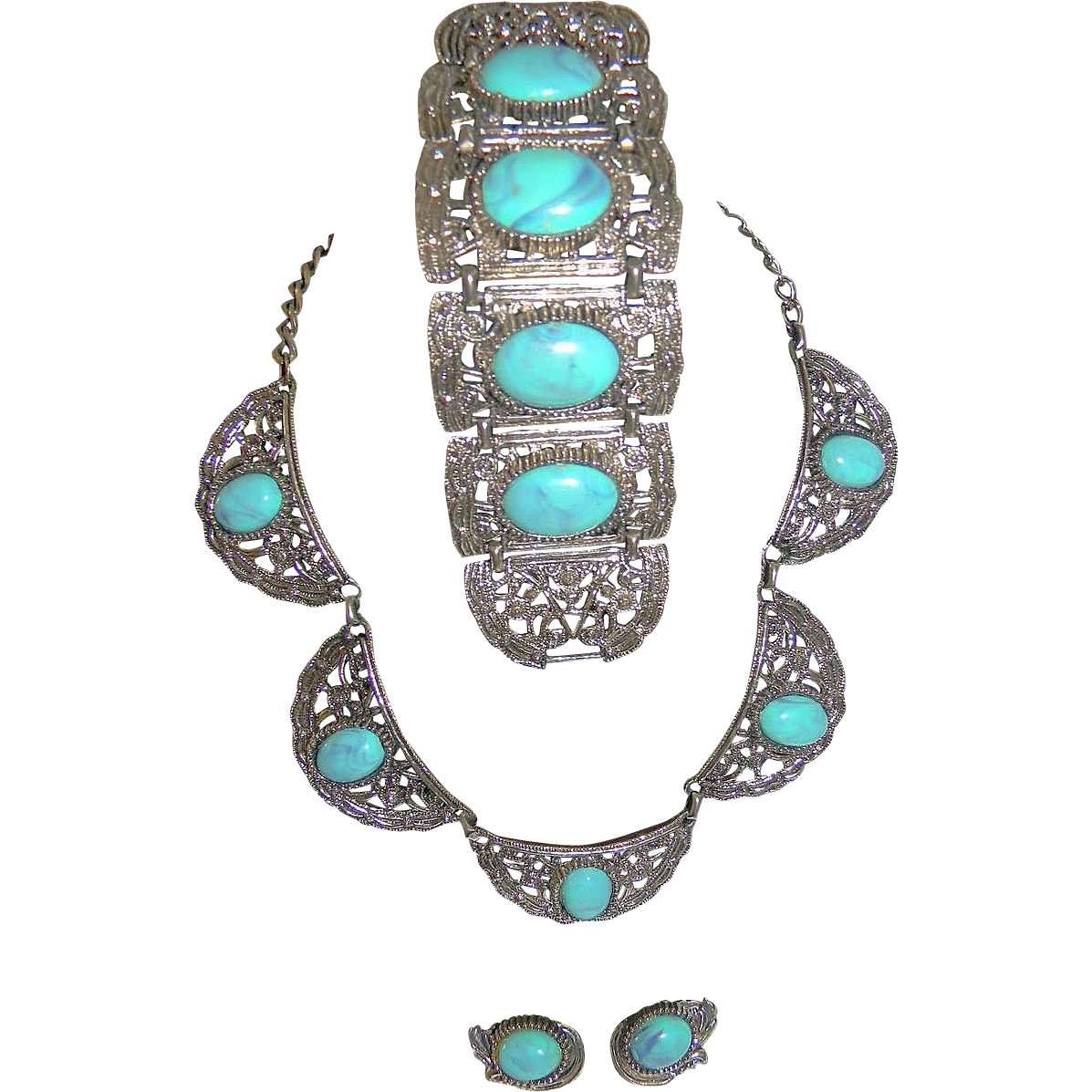 Chunky Big  Faux Turquoise Necklace/Bracelet/ER