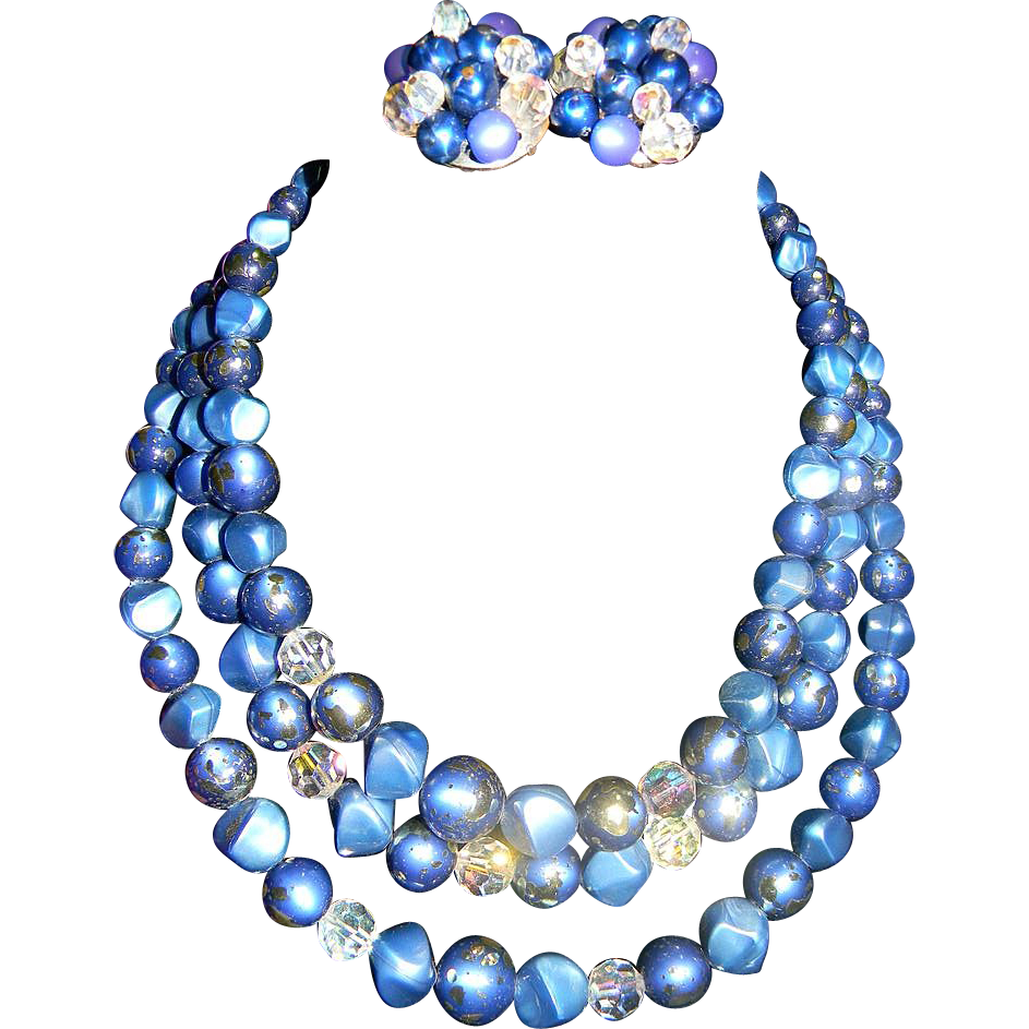 CORO 3 Strand Confetti Blue Thermoset Necklace/Earrings