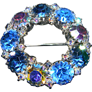 Stunning WEISS Signed Blue Hue Brooch