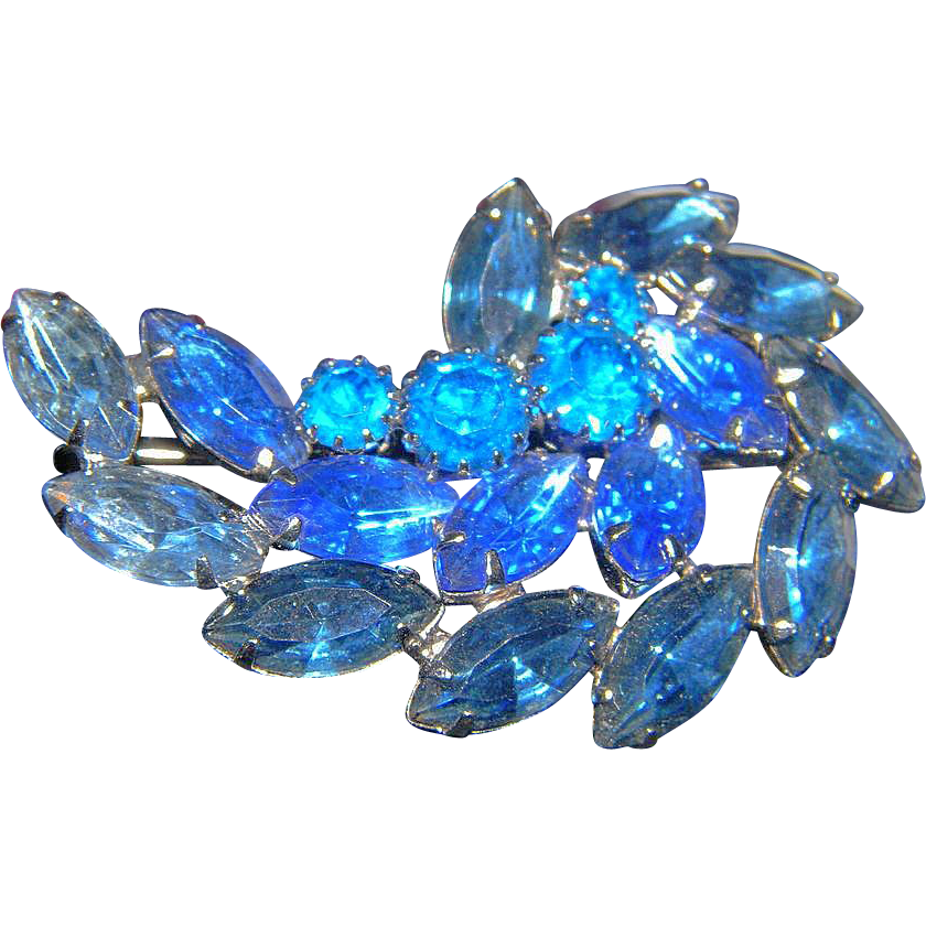 Unsigned Beauty Blue Slate Spray  Brooch