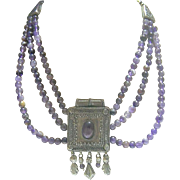 Vintage Egyptian Revival Lavender Glass Bead/Metal Casing