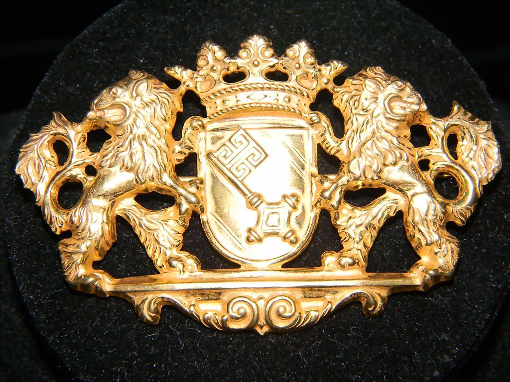 RESERVED FOR JULIA      MIRIAM HASKELL Double Roaring Lion Royal Brooch