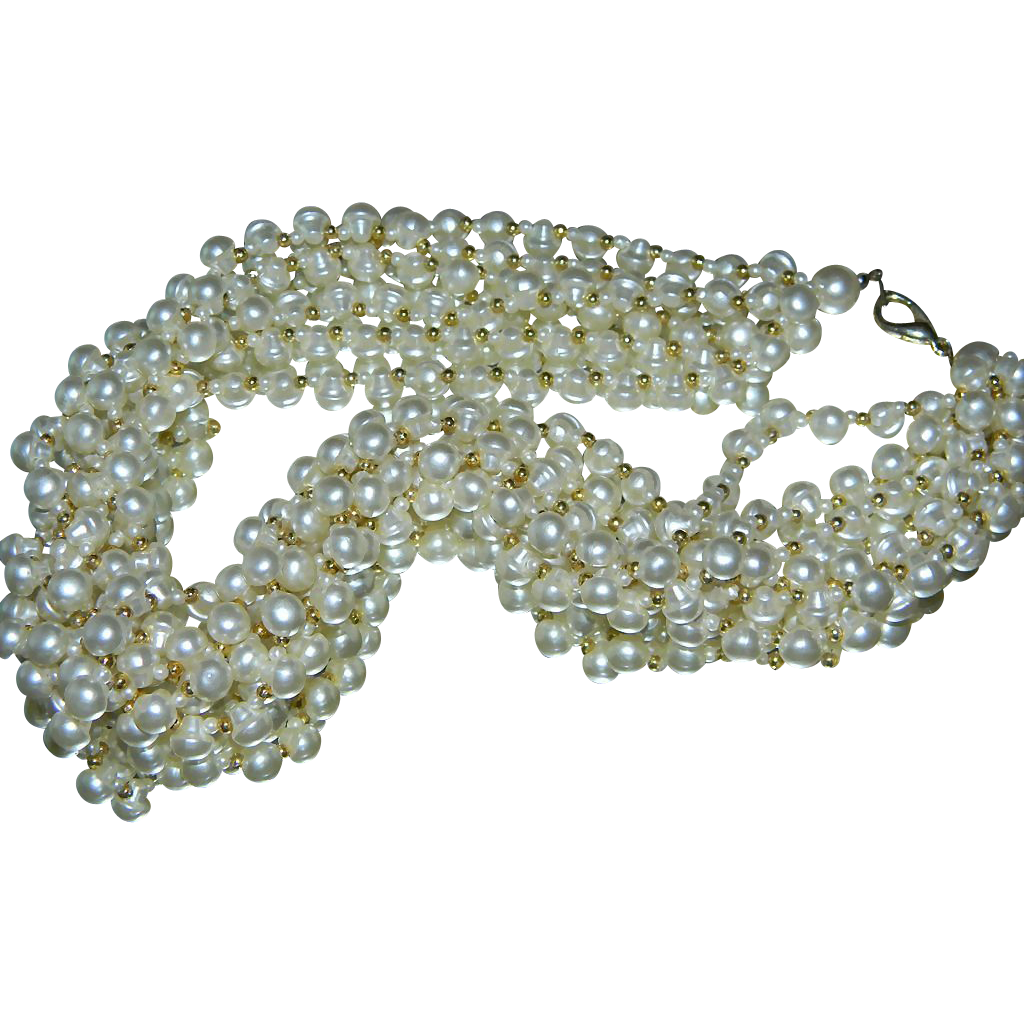 6 Strand Faux Pearl Necklace
