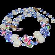 STUNNING Venetian Art Glass Beads 2 Strand Necklace.