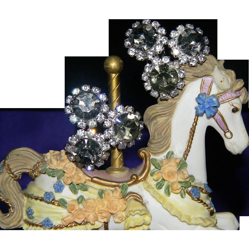 Huge Vintage CORO Super Sparkly Smokey Gray Rhinestone Earrings