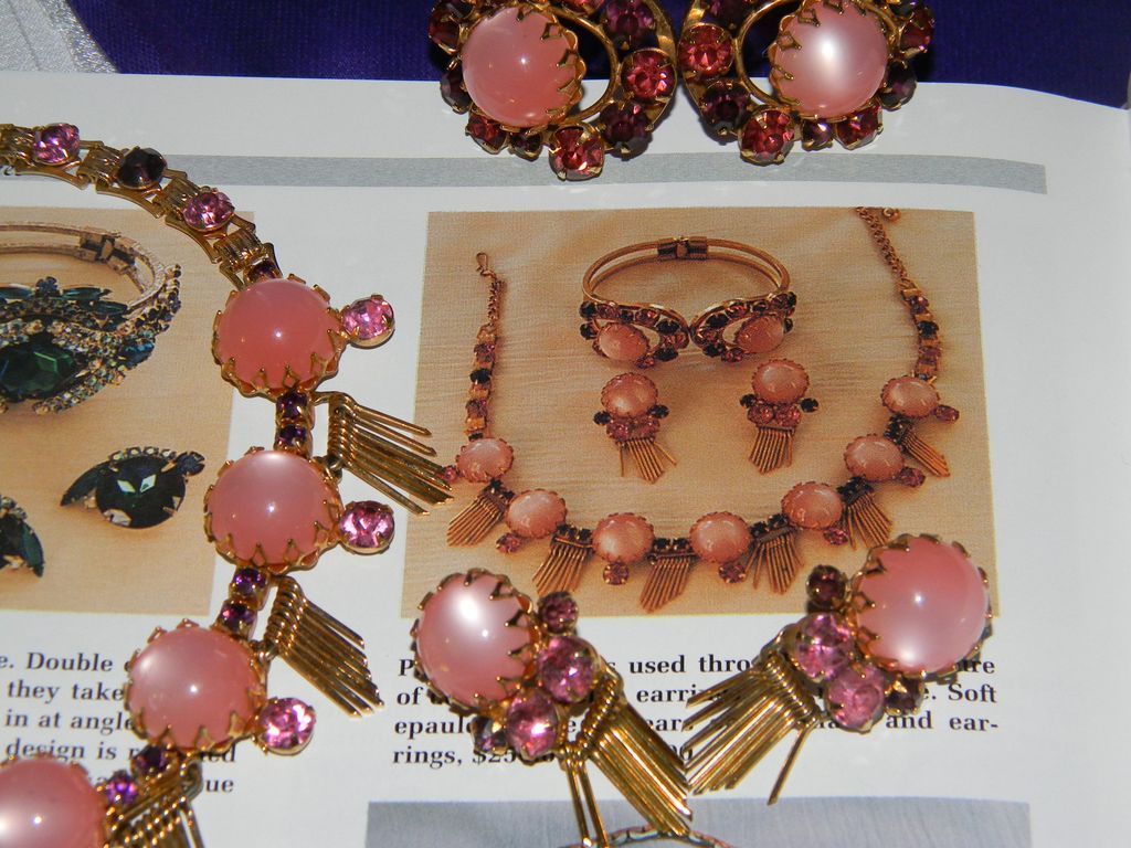 BOOK PIECE Vintage Pink Moonstone & Rhinestone Parure Necklace/Earrings/Clamper Bracelet
