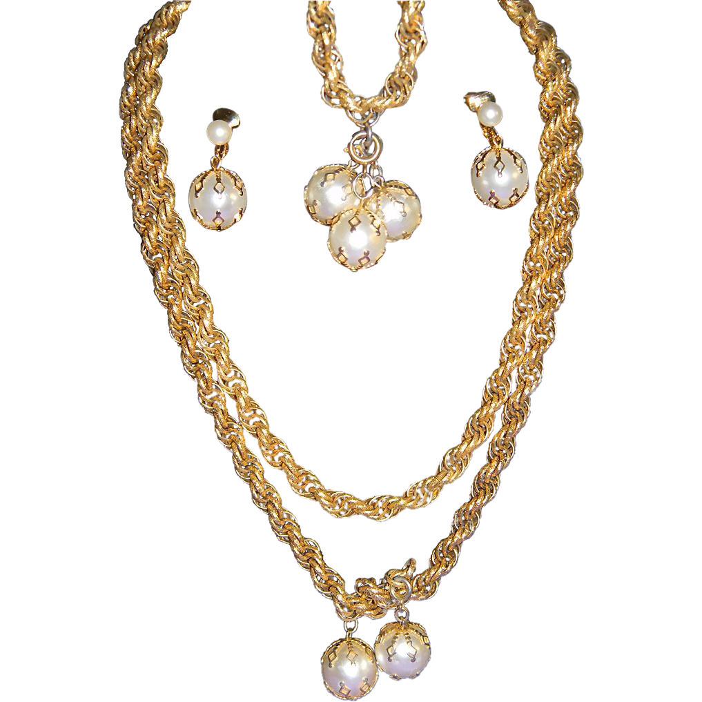 Fabulous Vintage Signed CELEBRITY Caged Faux Pearl Full Parure Necklace-Bracelet-Earrings