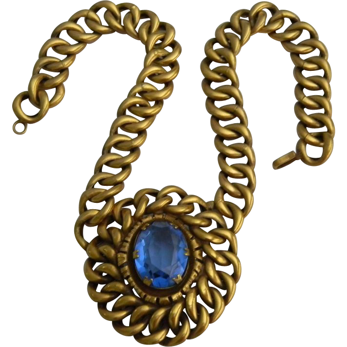 RARE Vintage JOSEFF Of Hollywood Russian Gold Finish Thick Linked Chain Necklace with Huge Multi-Faceted Glass Blue Center  ABSOLUTELY GORGEOUS!!!