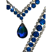 Vintage Royal Blue Prism Pendant with Clear Rhinestone Necklace and Bracelet Demi Parure