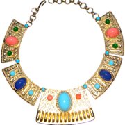 Fabulous JULIANA BOOK COVER MUST HAVE Egyptian Revival High Domed Cabochon Necklace. RARE