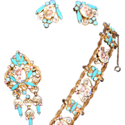 Vintage D&E Juliana Transfer Flower and Rhinestone Parure Bracelet, Brooch, & Earrings. BOOK PIECE!!!