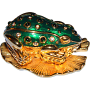 Vintage Signed KJL Kenneth Jay Lane Critter Series....The FROG PRINCE Brooch/Trinket Box  BOOK PIECE!!!