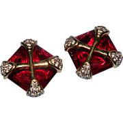 Exquisite Large Emerald Cut Ruby Red Swan Logo Paved Rhinestone Gold Tone Accents Maltese Cross Pattern Clip On Earrings