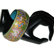 Vintage Extra Wide Chinese Cloisonne' Floral Enamel Bangle Bracelet