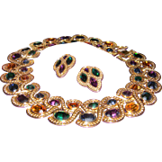 Vintage NAPIER Byzantium Rhinestone Cleopatra Collar Necklace & Byzantine Rhinestone Earrings. BOOK PIECE!!!