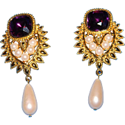 Elizabeth Taylor for Avon Jhaveri Amethyst Pearl Drop Clip On Earrings