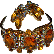 Juliana Gorgeous Huge Amber/Topaz Aurora Borealis Rhinestone Vintage Clamper Bracelet and Earrings Set