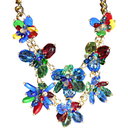 Gorgeous Colorful 2 Layer-3 Dimensional Lucite and Crystal Flower Statement Necklace WOW!