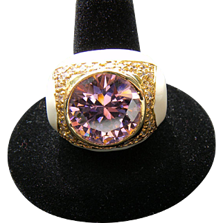 Vintage Signed NOIR Ring Huge Multi Faceted Pink Ice Rhinestone with Rich Creamy Off White Enamel Finish and Rhinestones. STUNNING!!! Sz. 8.5