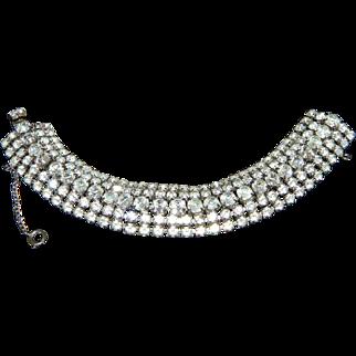 Vintage WEISS 5 Row Clear Rhinestone Wide Bracelet
