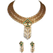 Vintage Signed RIFAS WIDE  Gold Tone Mesh Egyptian Revival/Cleopatra Dangle Collar and Dangle Earrings With Emerald Green Baguette Rhinestones. STUNNING!!!