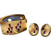 Vintage MASSIVE Stylish Elite MONET DIRECTIVES Wisteria Gold Tone Clamper Bracelet and Matching Earrings Amethyst Rhinestones