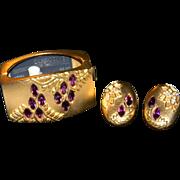 Vintage MASSIVE Stylish Elite MONET DIRECTIVES Wisteria Gold Tone Clamper Bracelet and Matching Earrings Amethyst Rhinestones