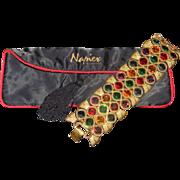 "Vintage Napier Limited Edition Byzantine Huge Mogul Gem 2"" WIDE Rhinestone Bracelet With Original Napier Bracelet Tasseled Pouch"