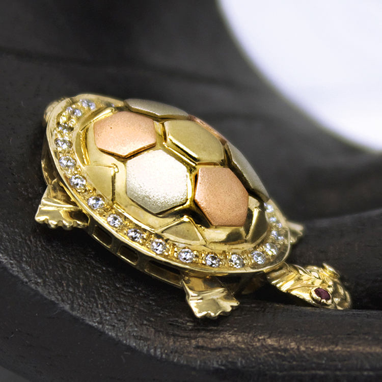14kt tri colored gold articulated turtle pendant with diamonds 14kt tri colored gold articulated turtle pendant with diamonds sold ruby lane aloadofball Image collections