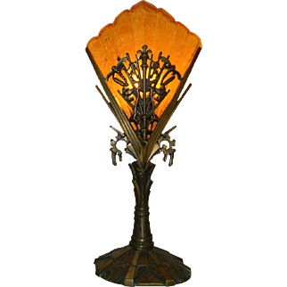 1930's Art Deco Mantle Lamp, set of two