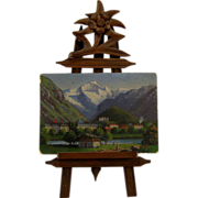 Antique Miniature Swiss Alps Painting on Black Forest Easel Dollhouse Size