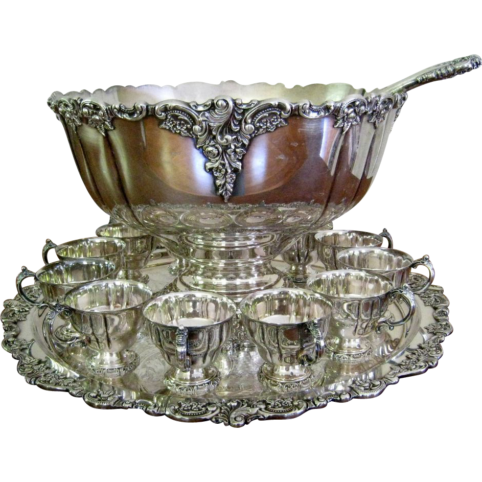 15pc Wallace Baroque Punch Bowl Set Vintage Silver Plate SOLD | Ruby Lane  sc 1 st  Ruby Lane & 15pc Wallace Baroque Punch Bowl Set Vintage Silver Plate