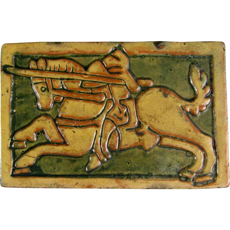 Horse arts and crafts - Antique Mercer Moravian Tile C 1920 Arts Crafts Knight On Horse