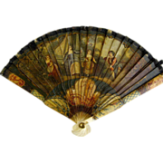 HOLD for M.....Antique Miniature Painted Brise Fan c.1900 Doll Child Fashion Accessory