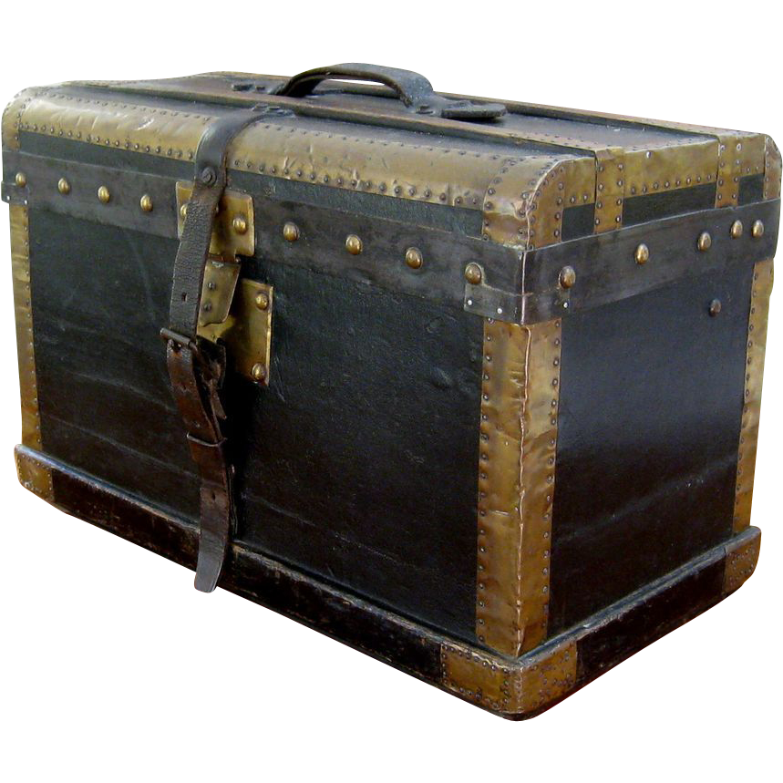 Vintage french black leather travel trunk c1900 brass bound antique from ston - Leather chests and trunks ...