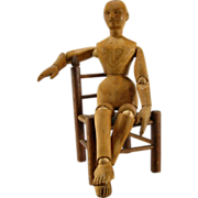 Artist Mannequin c.1900 Antique Carved Wood Lay Figure Doll