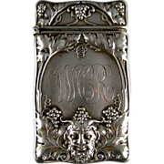 Antique Sterling Silver Match Safe c.1900 Gorham Bacchus Head Grape Vines
