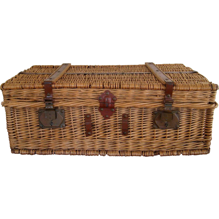 Auto Antique Wicker Trunks : Vintage french wicker travel trunk c sold ruby lane