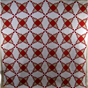 Turkey Red, White & Beige Quilt c.1880 Antique Pine Burr Hand Pieced