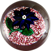 Antique Boston & Sandwich Paperweight c.1870 Blue Double Poinsettia
