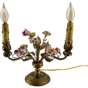 French Porcelain Flower Lamp c.1920 Vintage Two Arm Candelabra