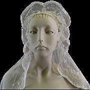 Brussels Princess Lace Wedding Veil c.1920 Vintage Bride's Headpiece